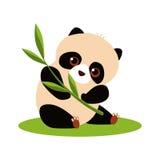 Cute Panda Eating Bamboo. Vector illustration Stock Images
