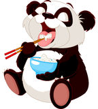 Cute panda eating rice Stock Images