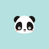 Cute panda face. Abstract cute panda face on a blue background stock illustration