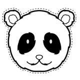 Cute panda facedotted sticker. Cute panda face dotted sticker. Vector illustration design royalty free illustration