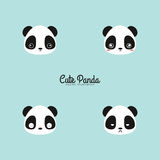 Cute panda faces. Abstract cute panda faces on a blue background stock illustration