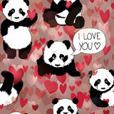 Cute Panda falls in love Stock Photography