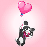 Cute panda flying on heard-shaped balloon. Vector character on St Valentines Day Royalty Free Stock Photography