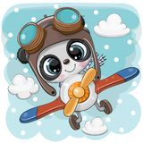 Cute Panda is flying on a plane royalty free illustration