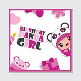 Cute panda girl and birthday ornaments frame  cartoon illustration for happy birthday card design. Postcard, and wallpaper Stock Photography