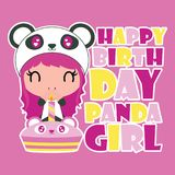 Cute panda girl birthday party  cartoon illustration for happy birthday card design. Postcard, and wallpaper Royalty Free Stock Images