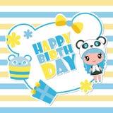 Cute panda girl on blue frame  cartoon illustration for happy birthday card design. Postcard, and wallpaper Royalty Free Stock Photo