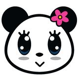Cute Panda Girl Cartoon Vector. Cute Panda Girl With Big Eyes Cartoon Vector Stock Images