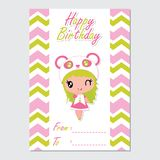 Cute panda girl on chevron border  cartoon illustration for happy birthday card design. Postcard, and wallpaper Stock Photo