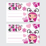 Cute panda girl and cupcake  cartoon illustration for happy birthday card design. Postcard, and wallpaper Royalty Free Stock Photography