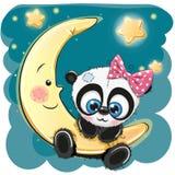 Cute Panda girl on the moon Royalty Free Stock Image
