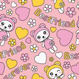 Cute panda girls, love and flowers on pink background vector cartoon pattern. Seamless pattern with cute panda girls, love and flowers on pink background vector Royalty Free Stock Images