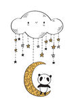 Cute panda. Cute panda on the golden moon. Hand drawn illustration for your design. Vector Stock Photography