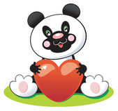 Cute Panda with heart Stock Images