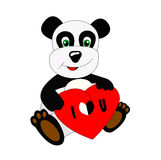 Cute panda with  heart Royalty Free Stock Image