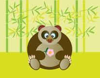 Cute Panda Holding Flower Illustration Royalty Free Stock Photos