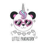 Cute panda illustration. Little Pandacorn text. Design for kids. Fashion illustration drawing in modern style for clothes. Girlish. Print. Glitter, unicorn stock illustration