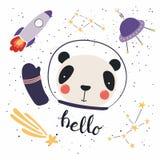 Cute Panda In Space Stock Photo