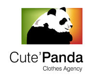 Cute Panda Logo. Logo Design for Clothes Agency Royalty Free Stock Images