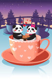 Cute panda in love Stock Photos