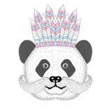 Cute panda with mustache, war bonnet on head. Hand drawn bear fa Stock Images