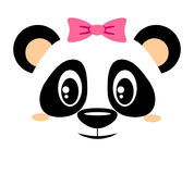 Cute panda with pink bow. Girlish print with chinese bear for t-shirt Stock Photos
