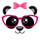 Cute panda with pink bow and glasses. Girlish print with chinese bear for t-shirt Royalty Free Stock Photos