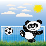 Cute Panda plays ball Royalty Free Stock Photo