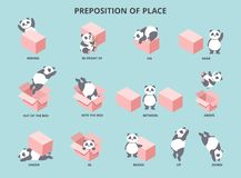 Cute panda with prepositions of place set