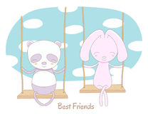 Cute panda and rabbit on a swing Royalty Free Stock Image