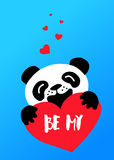 Cute panda and red heart on blue background. Happy Valentine`s day card. Royalty Free Stock Photography