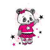 Cute Panda on roller skates. Pretty girl in a skirt. Vector illustration for a card or poster. Print on clothes. Childhood. Fashio Stock Photo