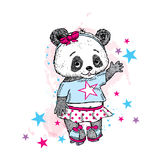 Cute Panda on roller skates. Pretty girl in a skirt. Vector illustration for a card or poster. Print on clothes. Childhood. Fashio Stock Image