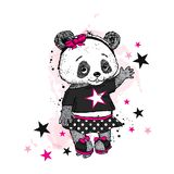 Cute Panda on roller skates. Pretty girl in a skirt. Vector illustration for a card or poster. Print on clothes. Childhood. Fashion & Style Royalty Free Stock Photo