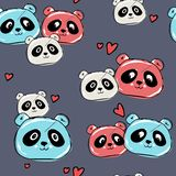 Cute panda seamless pattern, hand drawn on blue background with hearts, vector illustration.background for greeting. Cards, wallpaper, print on fabric. dad, mom stock illustration