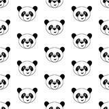 Cute panda. Seamless vector illustration with funny panda's faces Royalty Free Stock Photography