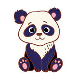 Cute panda sitting on a white background. Royalty Free Stock Images