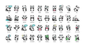 Cute Panda, Stickers Collection, In Different Poses, Different Moods Royalty Free Stock Photo