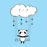 Cute panda on the swing. vector illustration