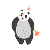 Cute panda. Cute vector cartoon  panda with flower isolated on white background Royalty Free Stock Photo