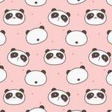 Cute Panda Vector Pattern Background. Fun Doodle. royalty free illustration
