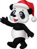 Cute panda wearing red hat waving hand Stock Image