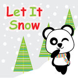 Cute panda is winking on snow background  cartoon, Xmas postcard, wallpaper, and greeting card Royalty Free Stock Image