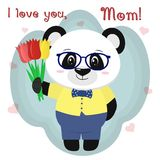 Sweet panda holds three tulips. Congratulations on your mother`s day, in the style of cartoons. Stock Image