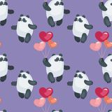 Cute pandas with balloons pattern. Seamless pattern with the image of cute pandas and hearts. Colorful vector background Stock Photography
