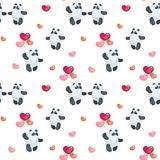 Cute pandas with balloons pattern. Seamless pattern with the image of cute pandas and hearts. Colorful vector background Stock Image
