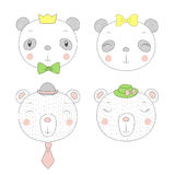 Cute pandas and bears girls and boys portraits Royalty Free Stock Photography