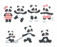 Happy pandas set. Cute Pandas in a cartoon style. Children vector illustrations set on white background Royalty Free Stock Image