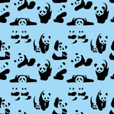 Cute pandas - silhouettes. Vector Cute pandas silhouettes Collection Cute cartoon Panda Stock Image