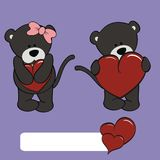 Cute panther girl and boy cartoon Stock Images